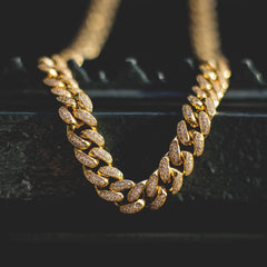 Diamond Cuban Link Necklace (10mm) in Yellow Gold - The GLD Shop