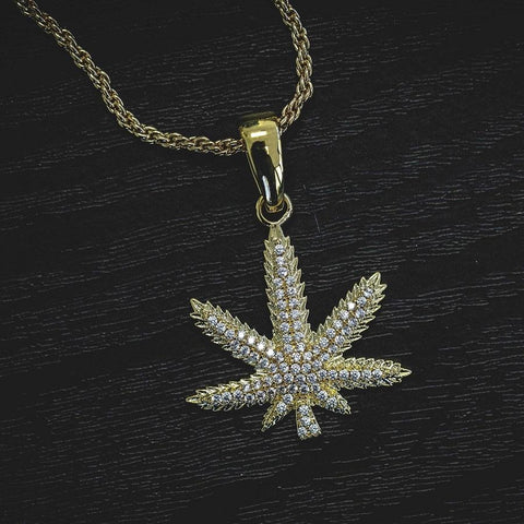 Iced Weed Leaf in Yellow Gold