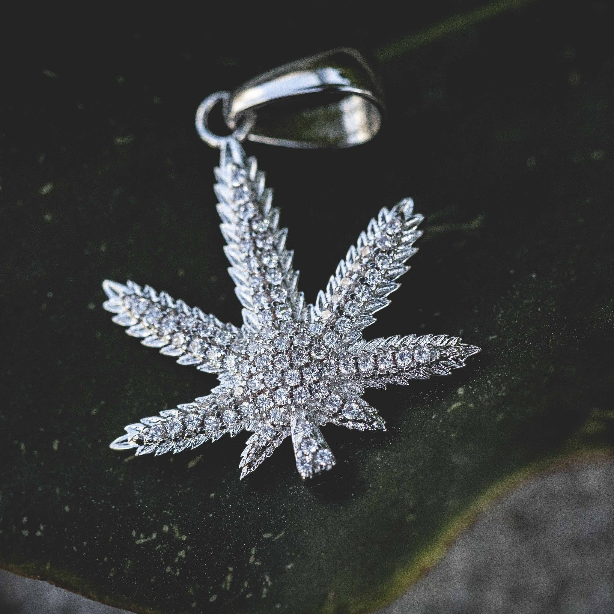 Iced Weed Leaf in White Gold - The GLD Shop