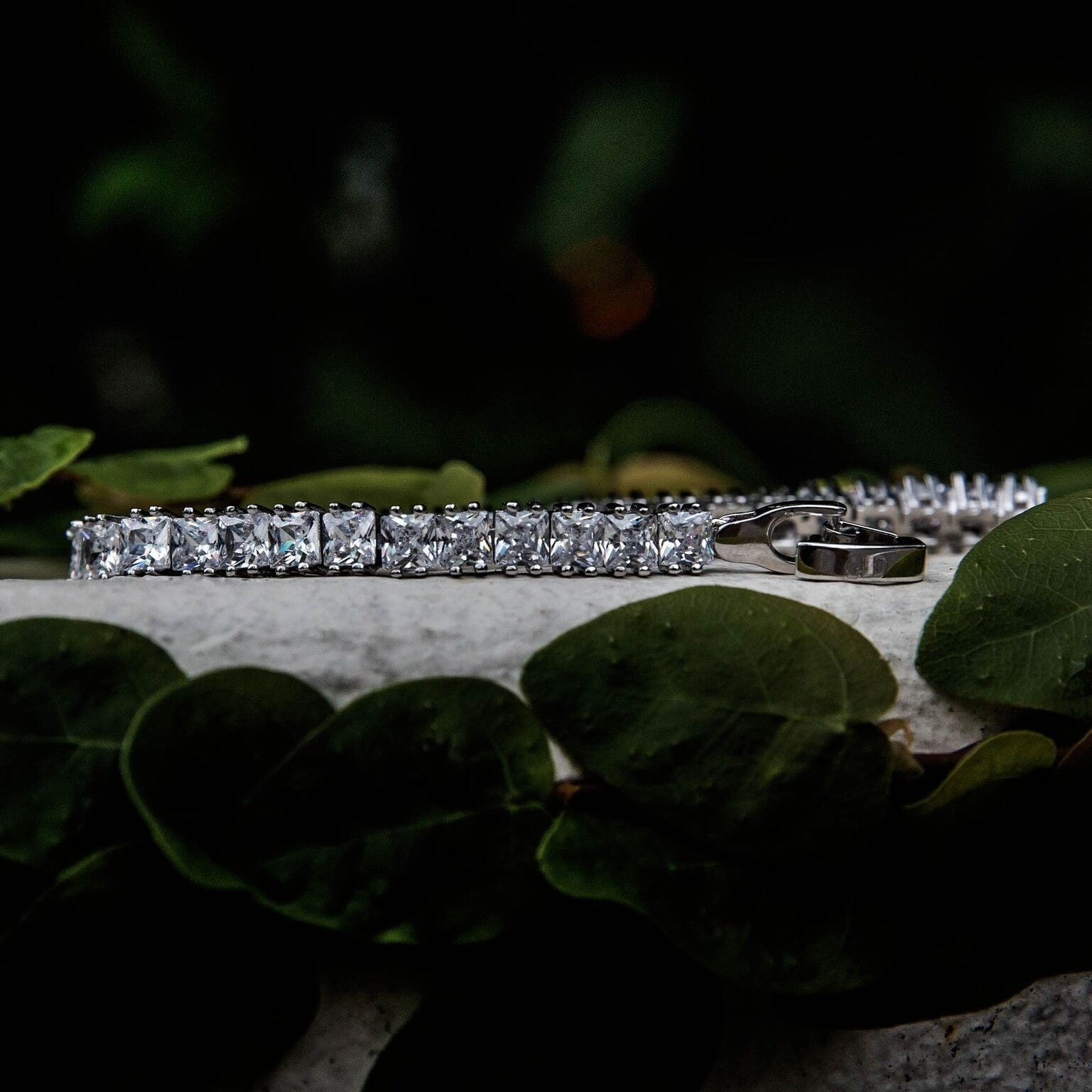 Princess Cut Tennis Bracelet in White Gold - The GLD Shop