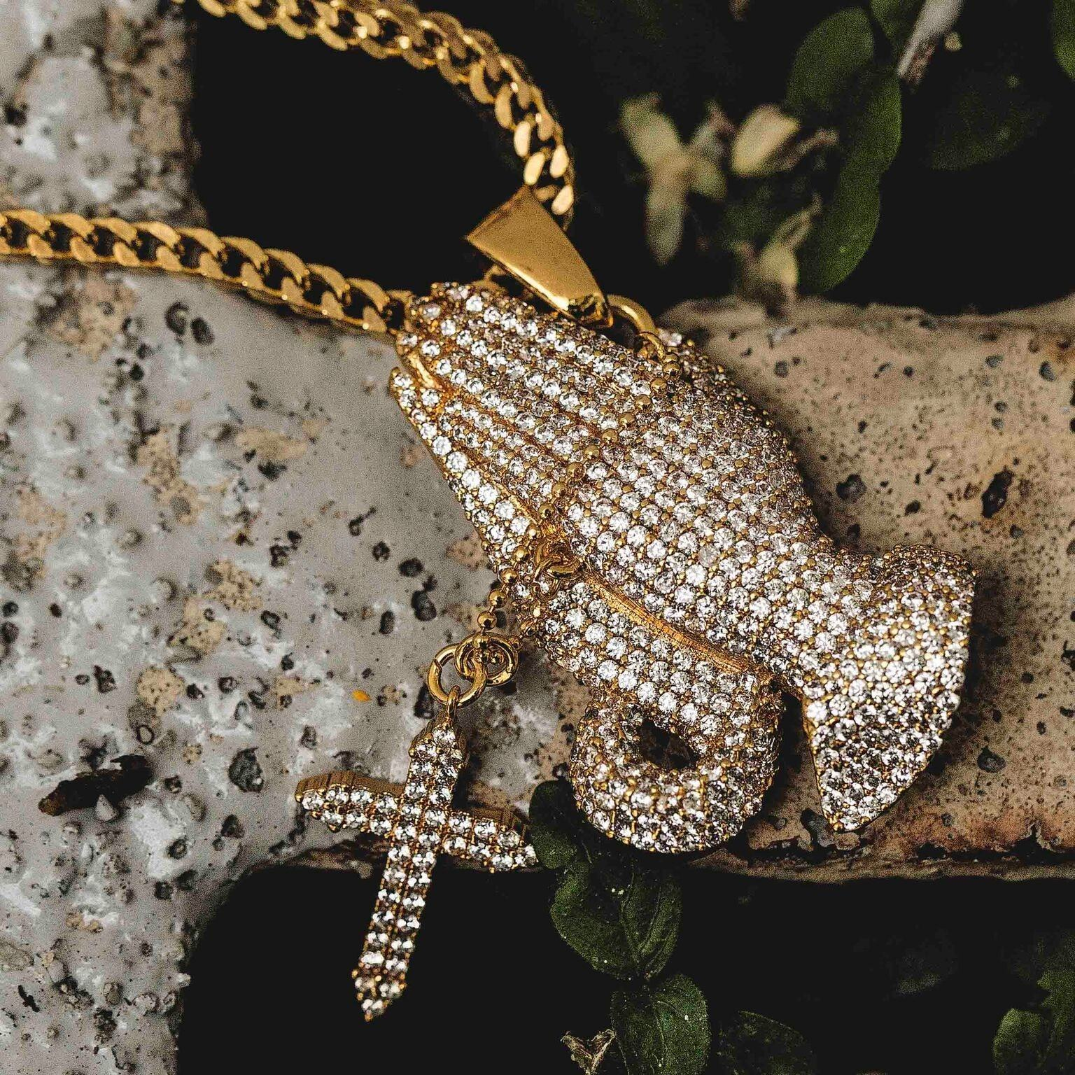 Iced Praying Hands Pendant - The GLD Shop