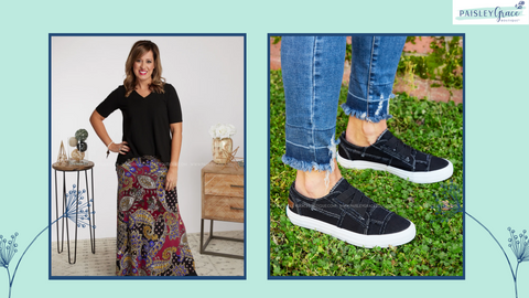 Maxi or midi skirt, t-shirt, and sneakers