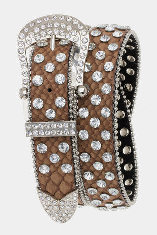 Rhinestone Belt - Brown