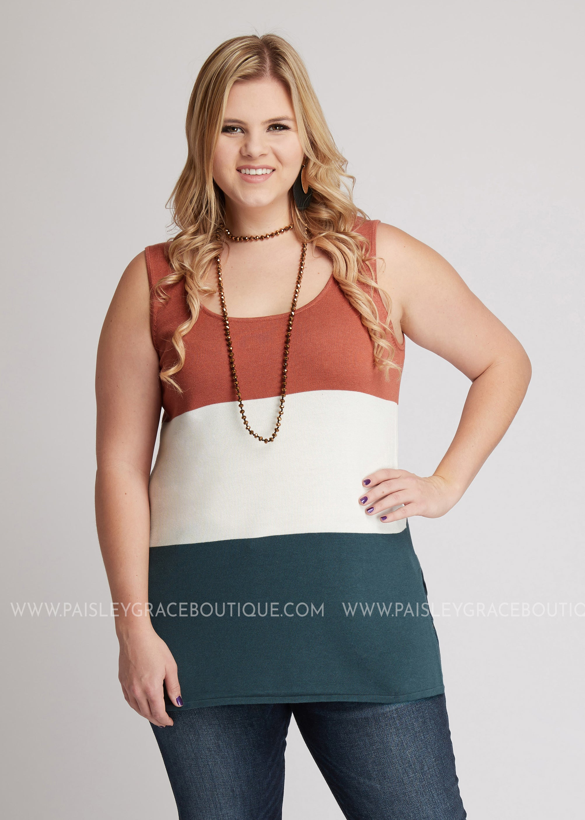 Amore Color-Block Tank- RUST FINAL SALE