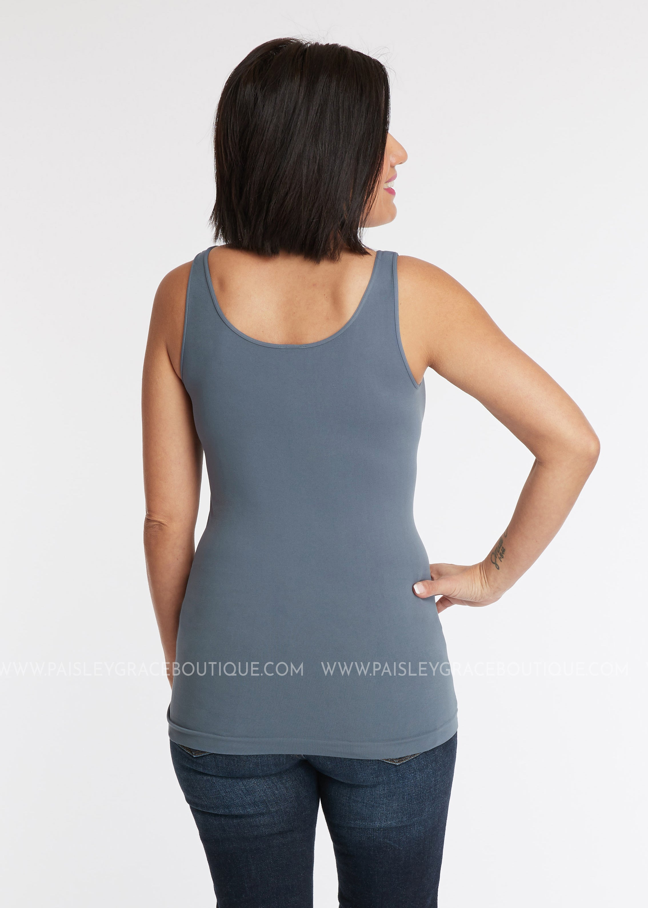 Luxe Wide Strap Tank Top/Cami - SLATE (REG ONLY)