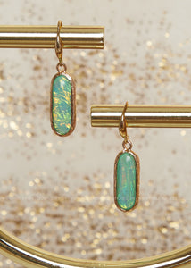 Iridescent Mint Oval Earrings