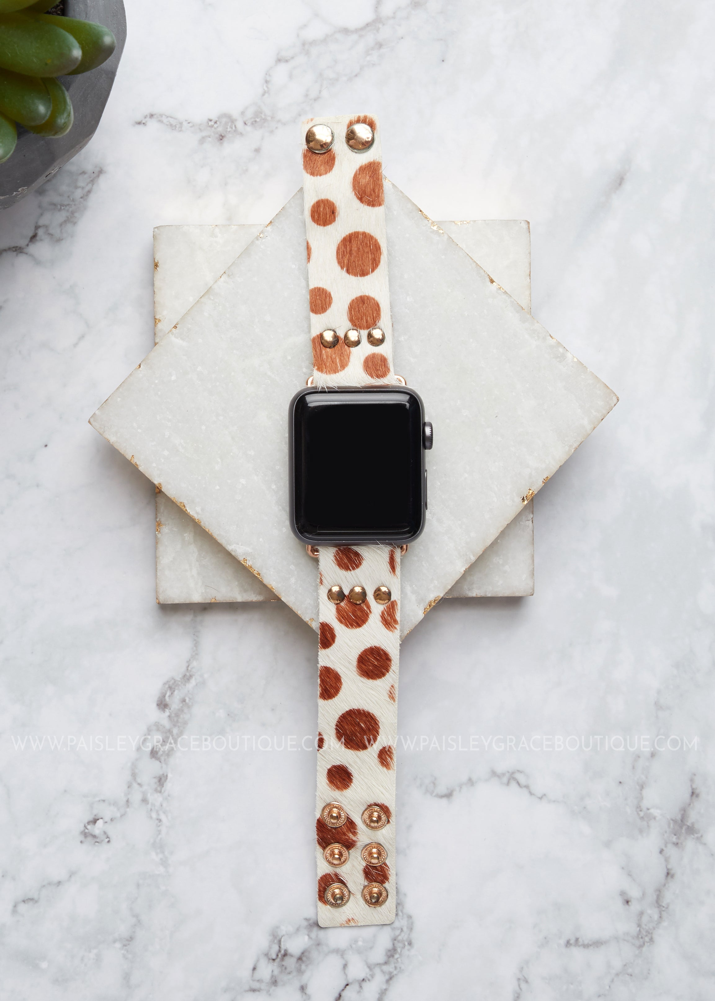 Smart Watch Band - Spotted Tan & White