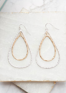 Hammered Silver/Gold Drop Earrings