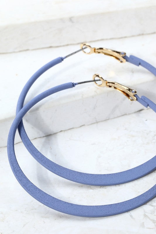 Basic Hoop Earrings- Blue