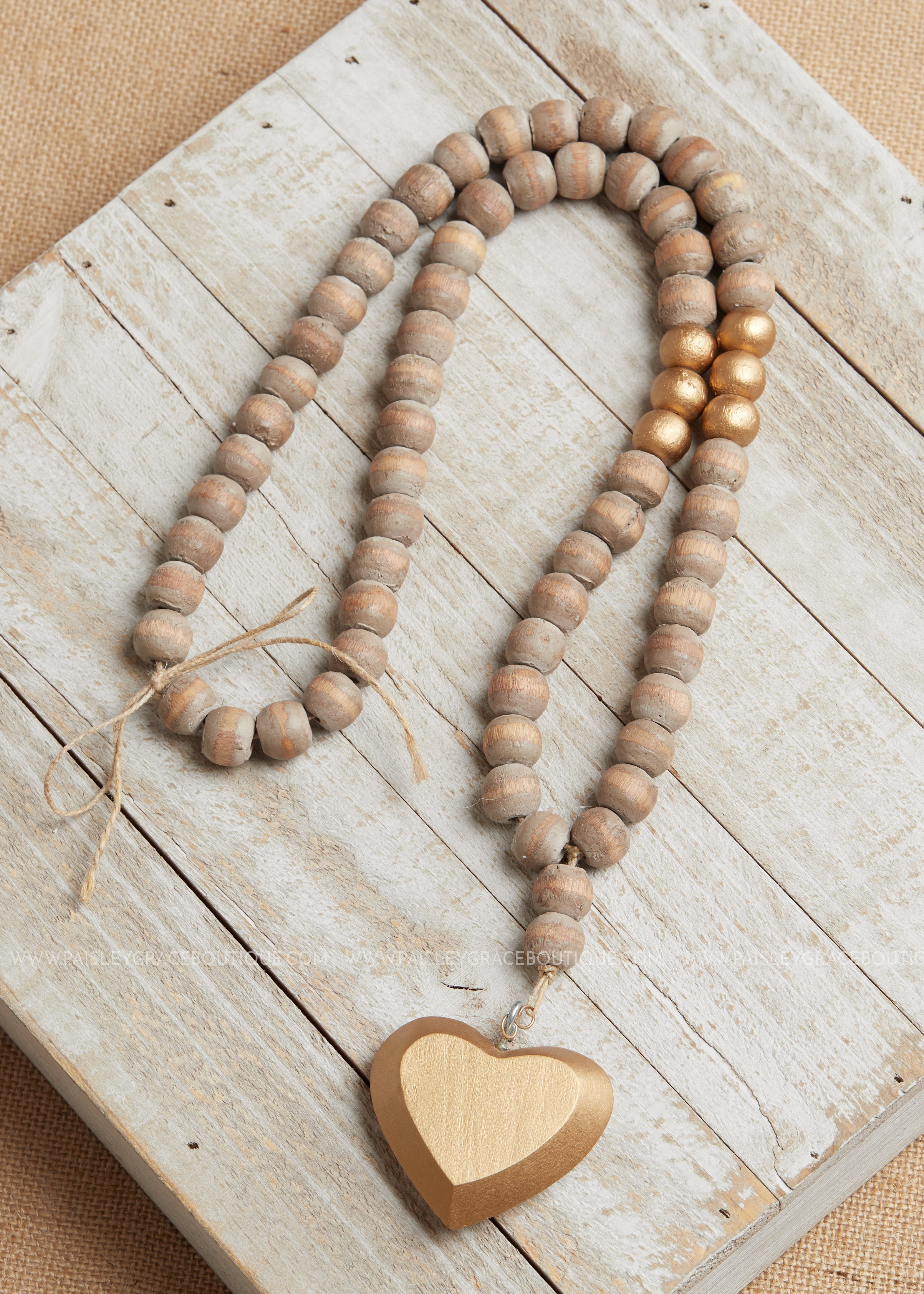 Wooden bead heart necklace- By Mud Pie