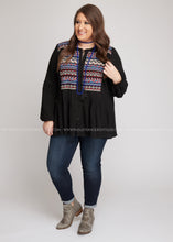 Load image into Gallery viewer, Anika Embroidered Top-BLACK - FINAL SALE