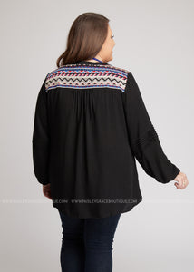 Anika Embroidered Top-BLACK - FINAL SALE