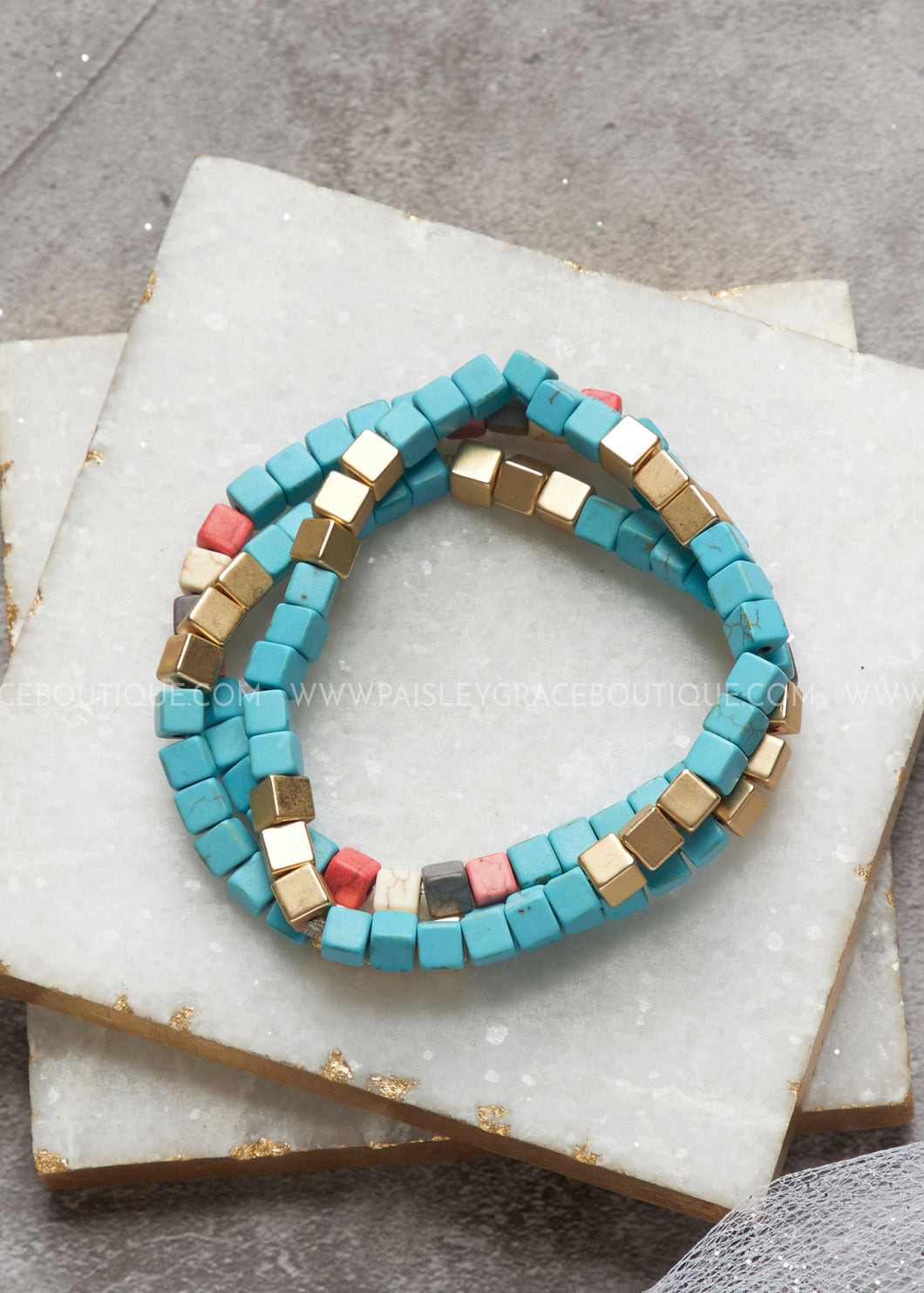 Maya Stretch Bracelet Set- Turquoise