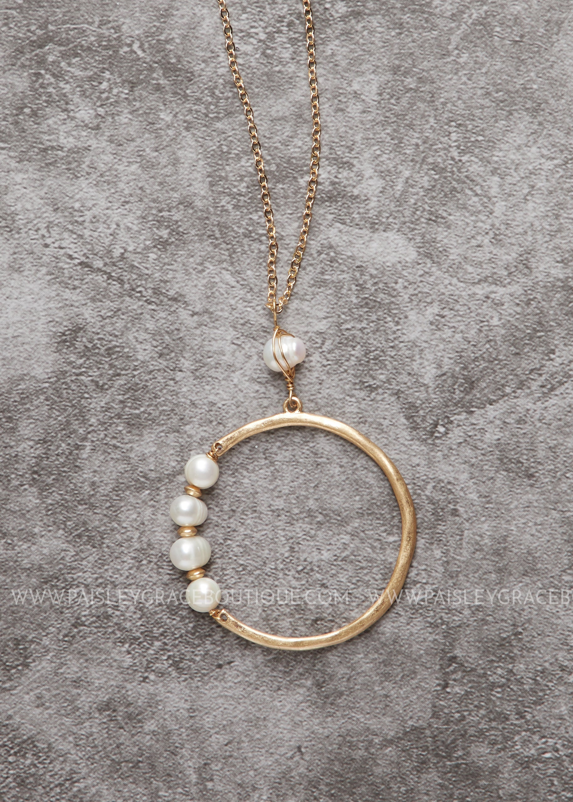 Pearl Accented Hoop Necklace