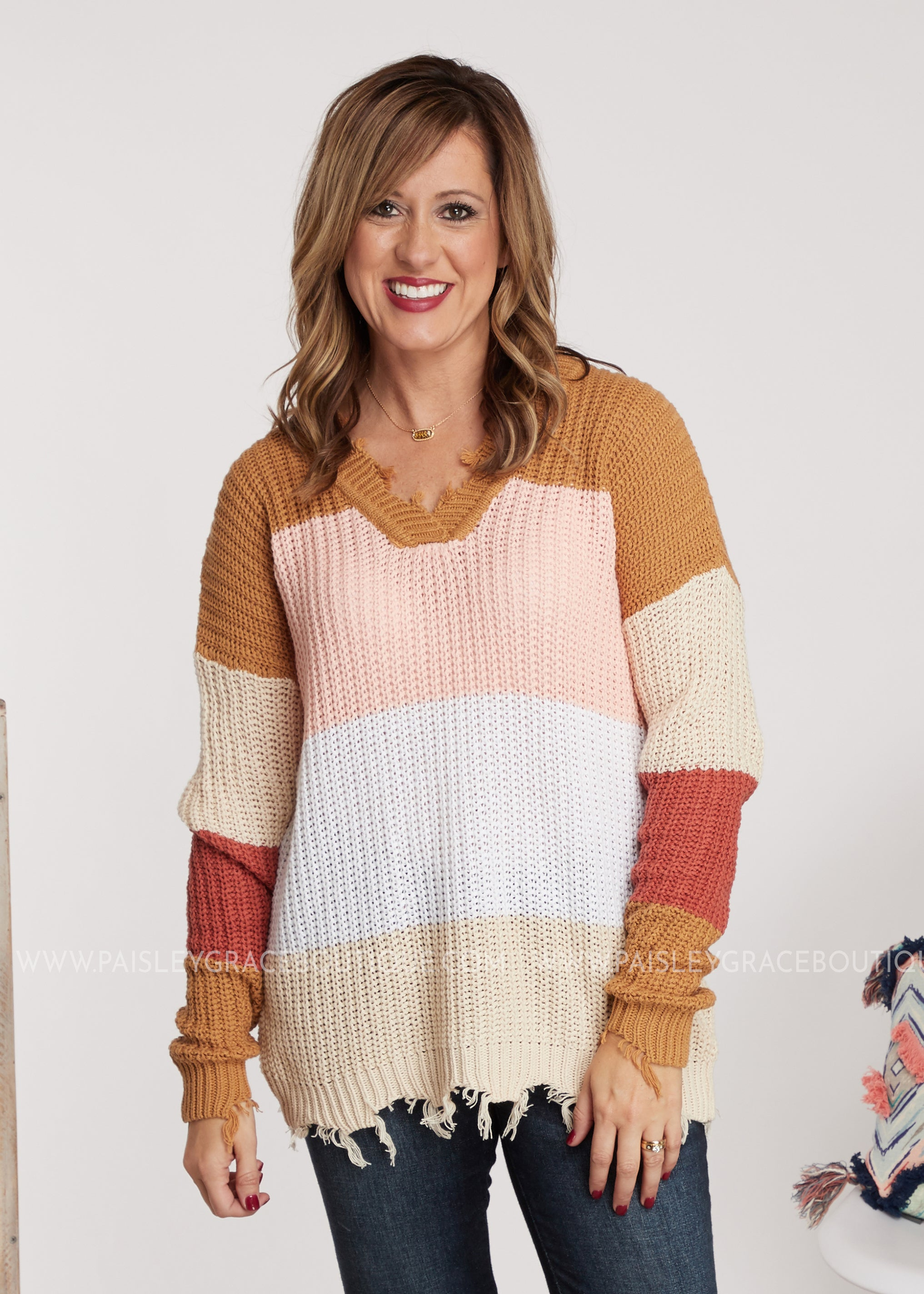 Walk This Way Sweater-Brown/Pink