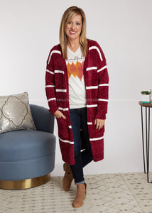 In The Long Run Cardigan - Wine - FINAL SALE