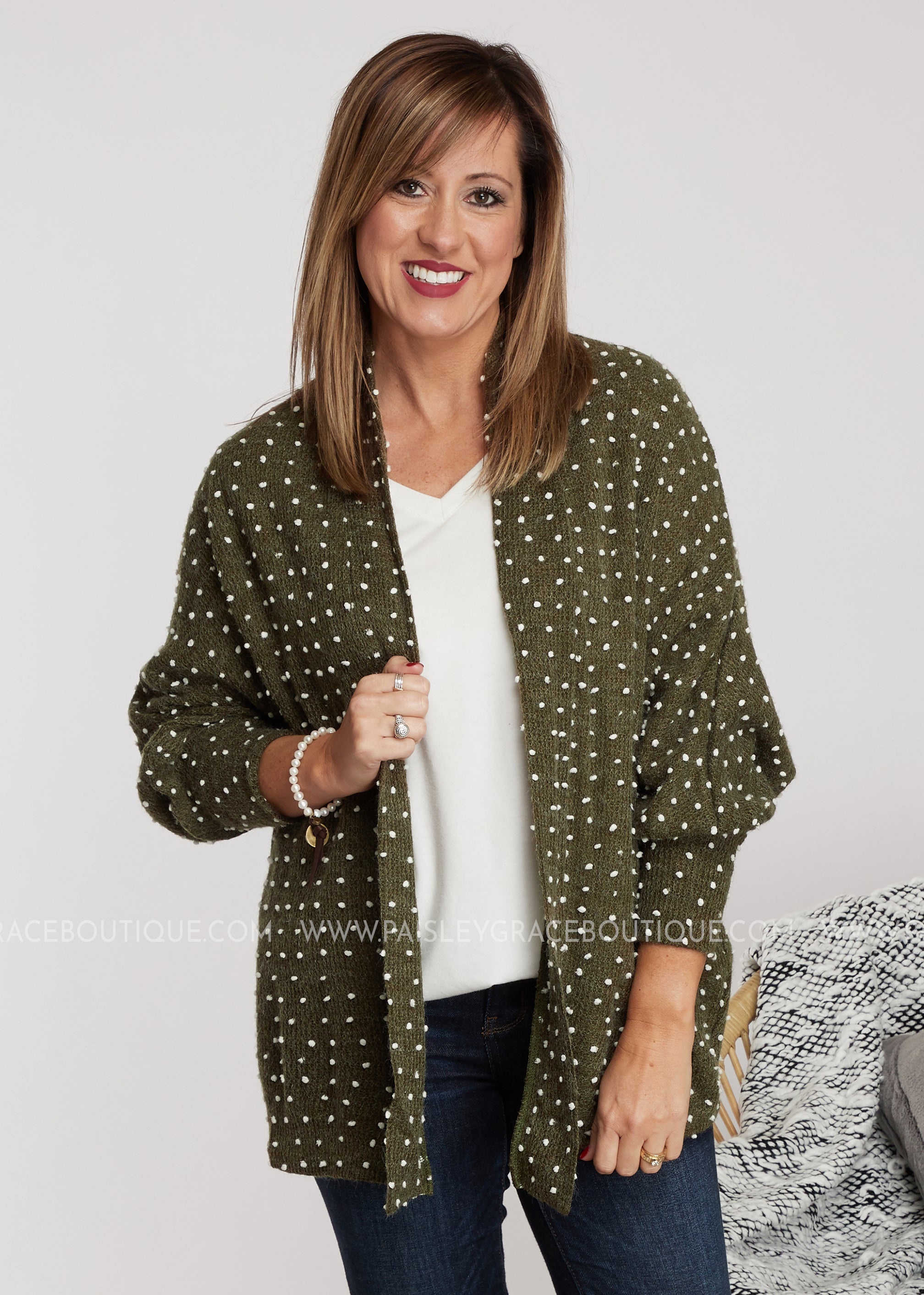 Let's Connect Cardigan- Olive