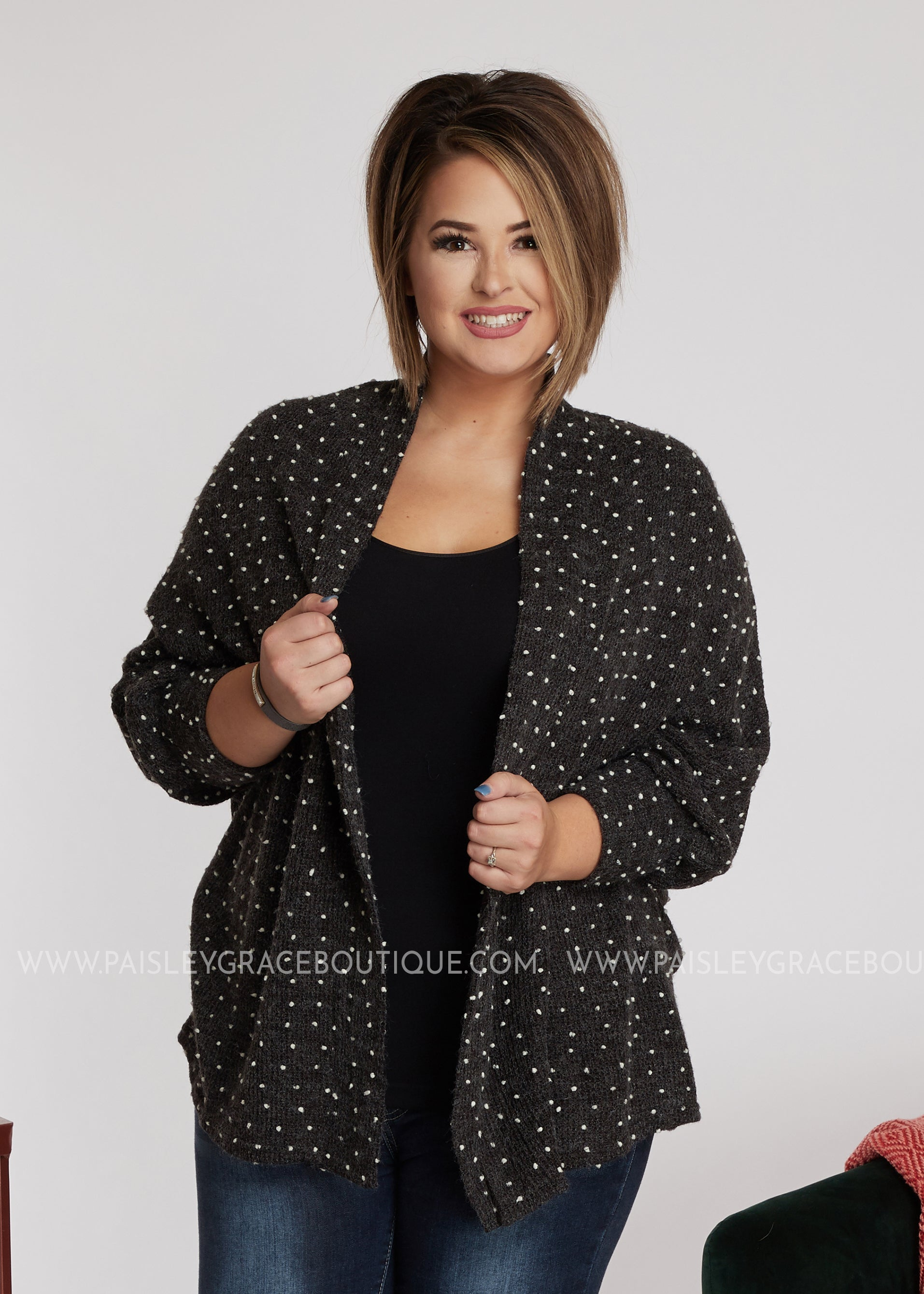 Let's Connect Cardigan-Charcoal