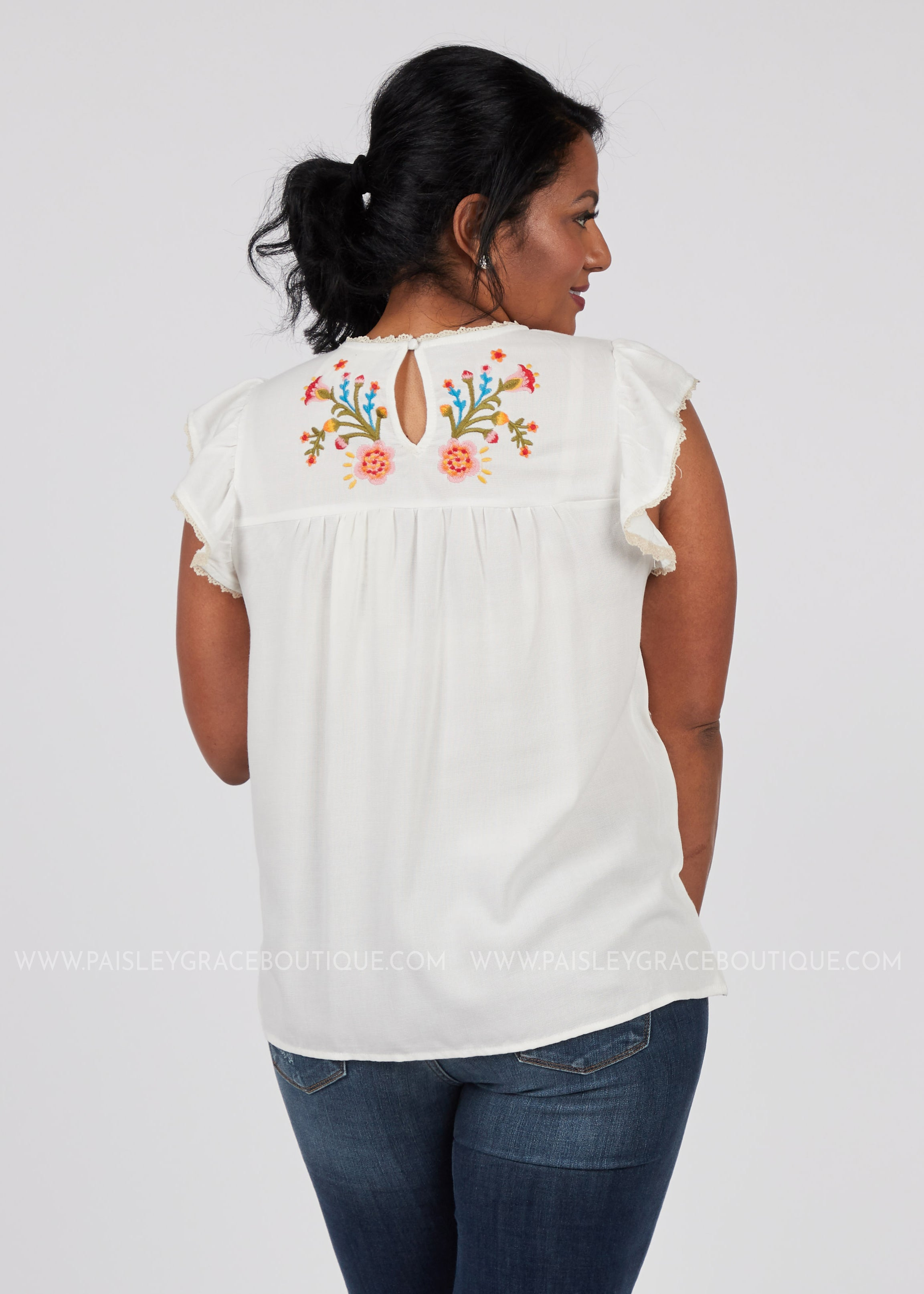 Here Comes The Bloom Embroidered Top-WHITE  - FINAL SALE