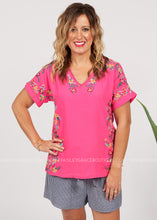 Load image into Gallery viewer, Floral Line Embroidered Top-PINK  - FINAL SALE