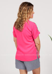 Floral Line Embroidered Top-PINK  - FINAL SALE