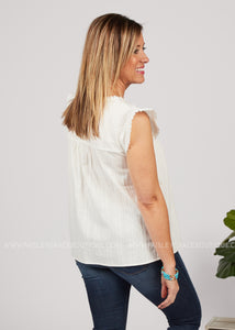 Breezy Embroidered Top-WHITE - FINAL SALE