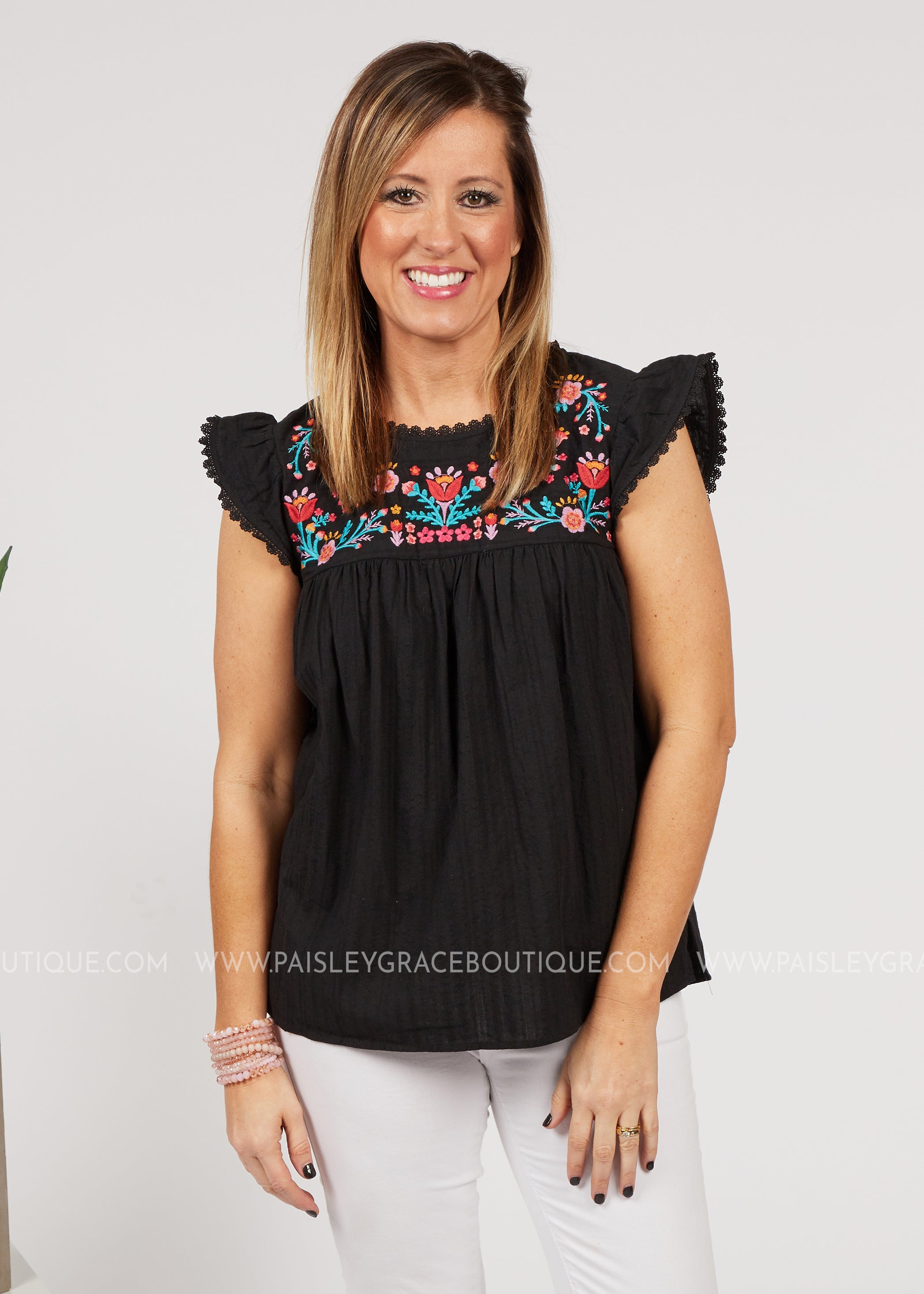 Breezy Embroidered Top-BLACK - FINAL SALE