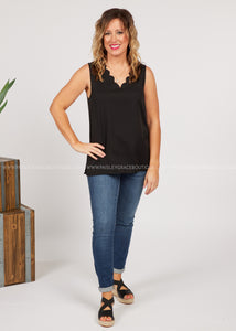 Rachel Scalloped Tank-BLACK  - FINAL SALE