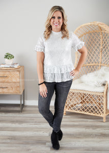 Wine & Shine Top- SILVER  - FINAL SALE