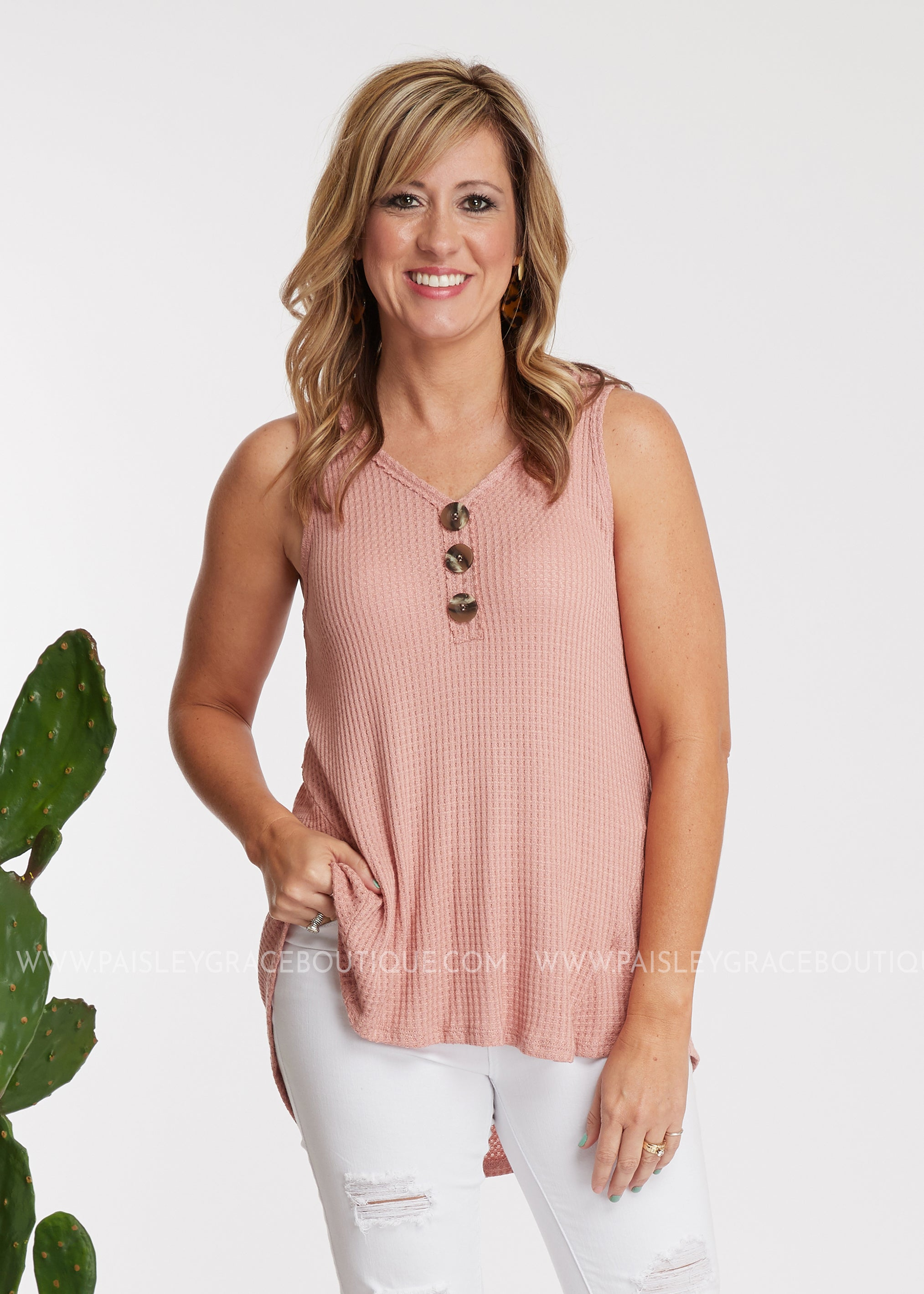 Lila Waffle Top- BLUSH - FINAL SALE