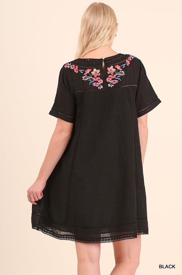 Serenity Embroidered Dress - BLACK