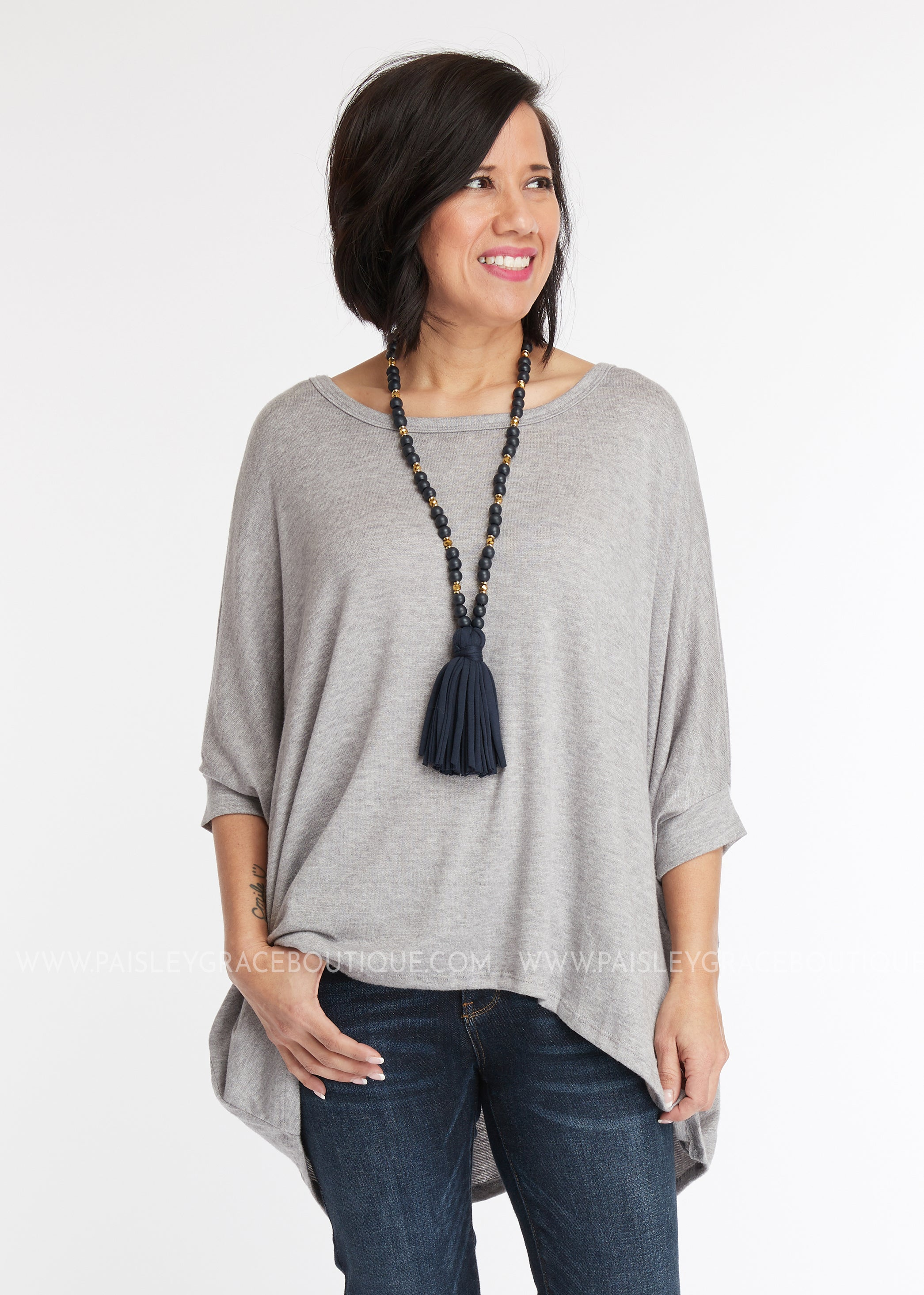 Delilah Poncho Top- GREY
