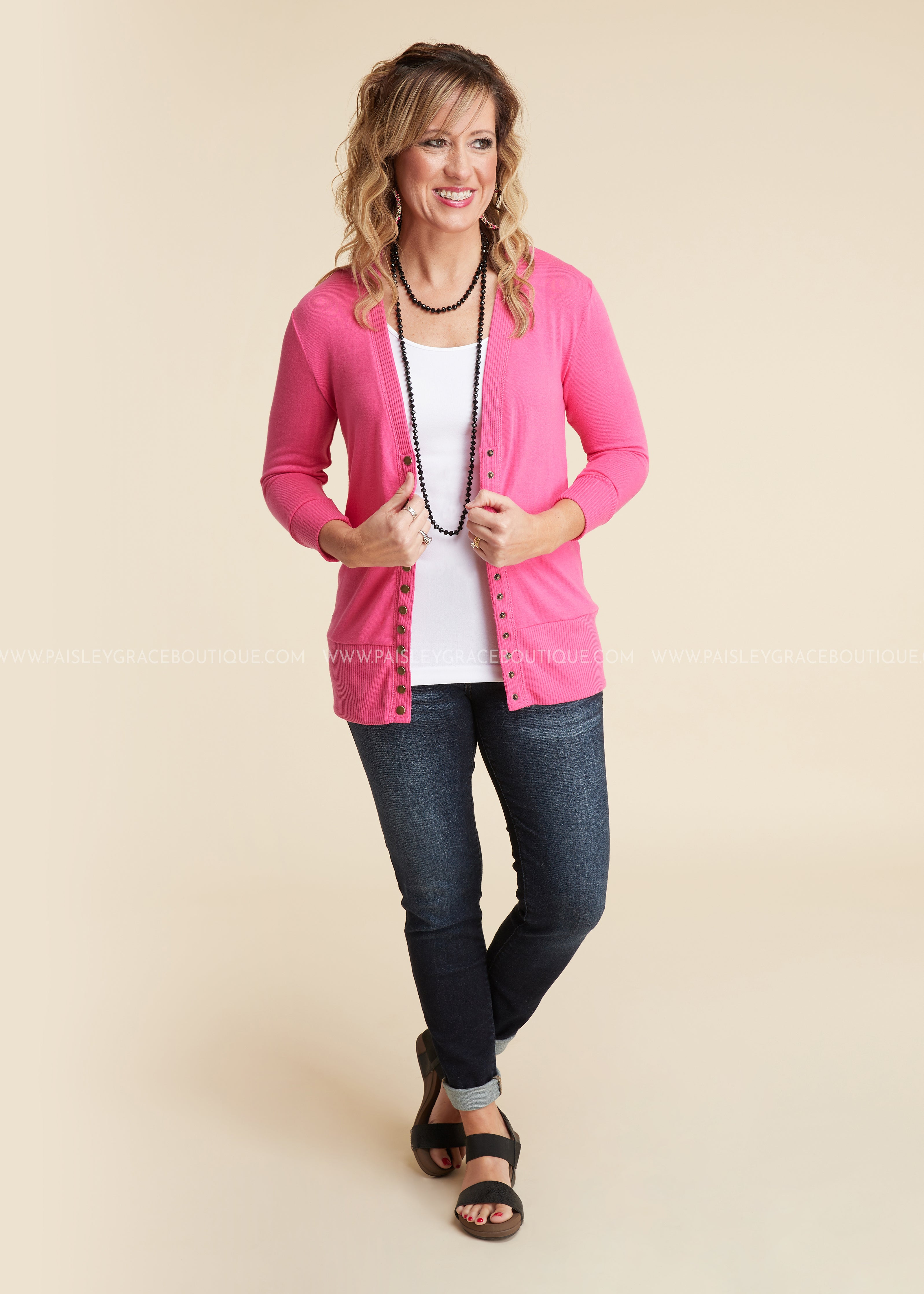 Molly 3/4 Sleeve Button Cardigan- HOT PINK-RESTOCK