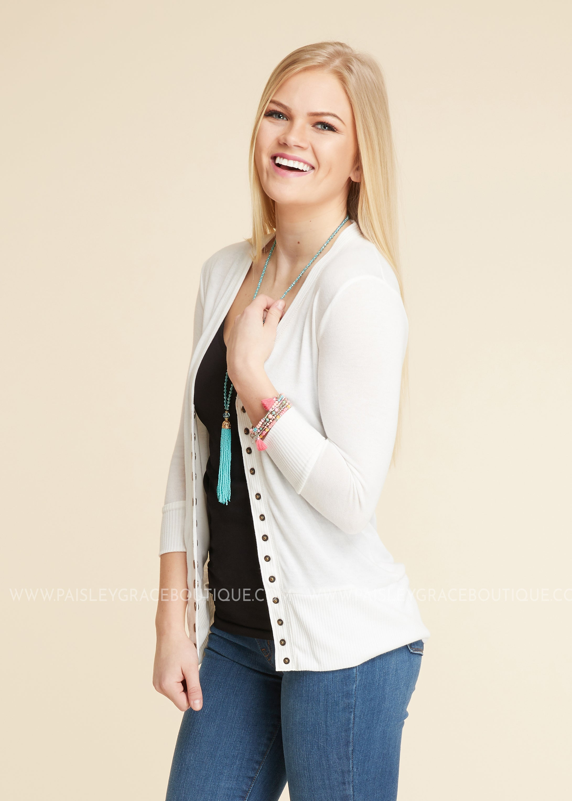Molly 3/4 Sleeve Button Cardigan- OFF WHITE
