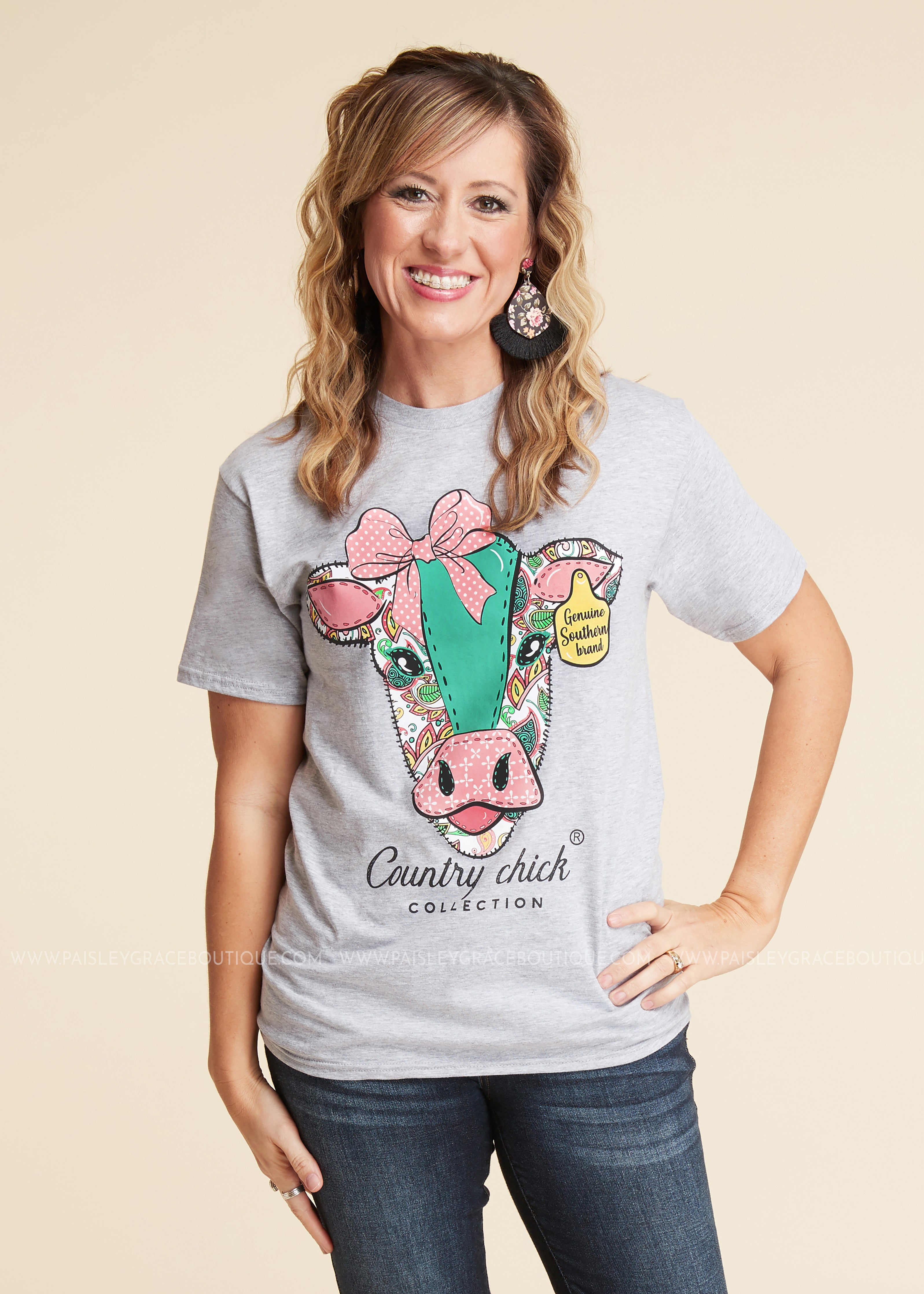 Paisley Cow Tee by Simply Southern