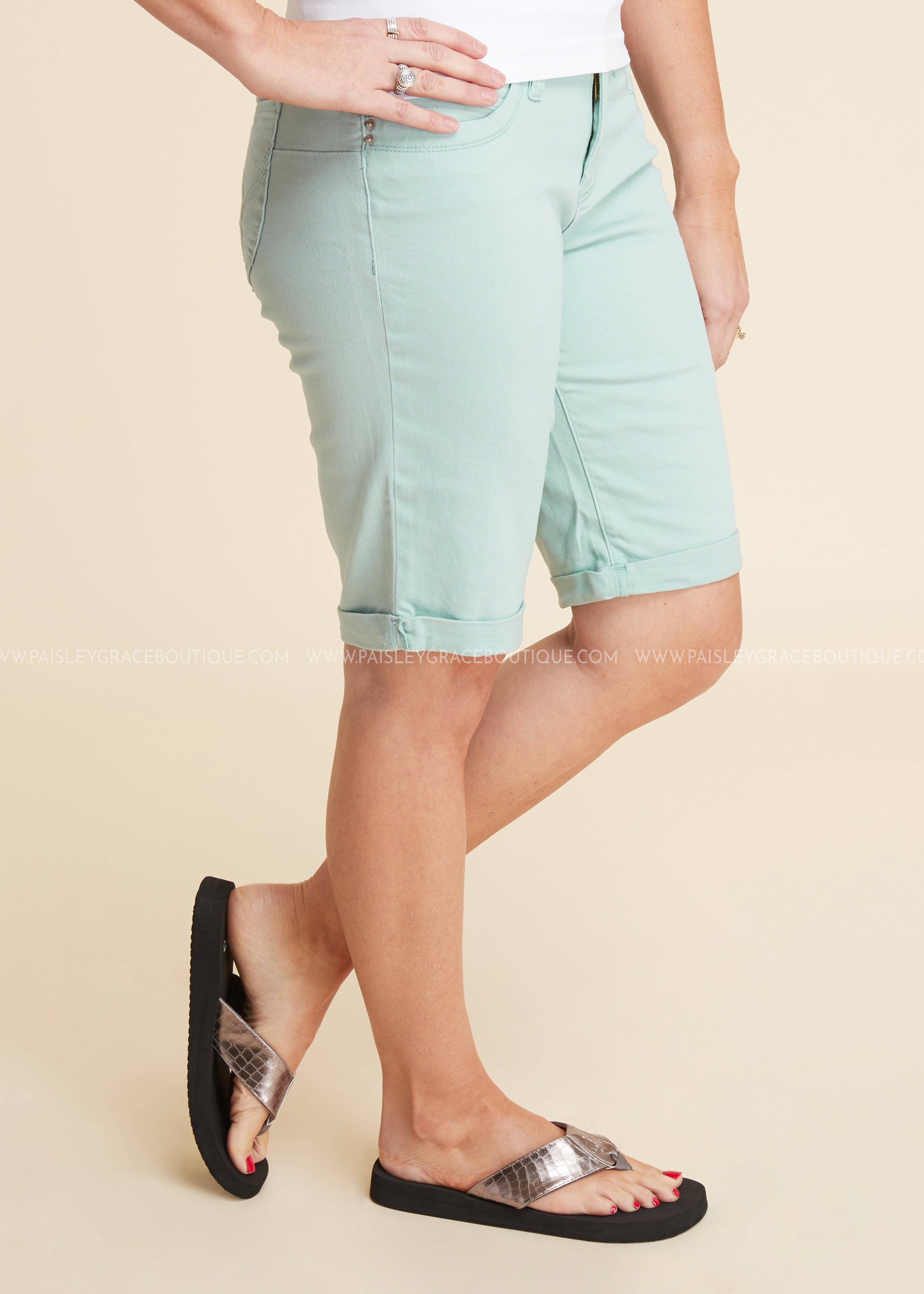 Wanna Betta Butt Bermuda Shorts- SEAFOAM - FINAL SALE