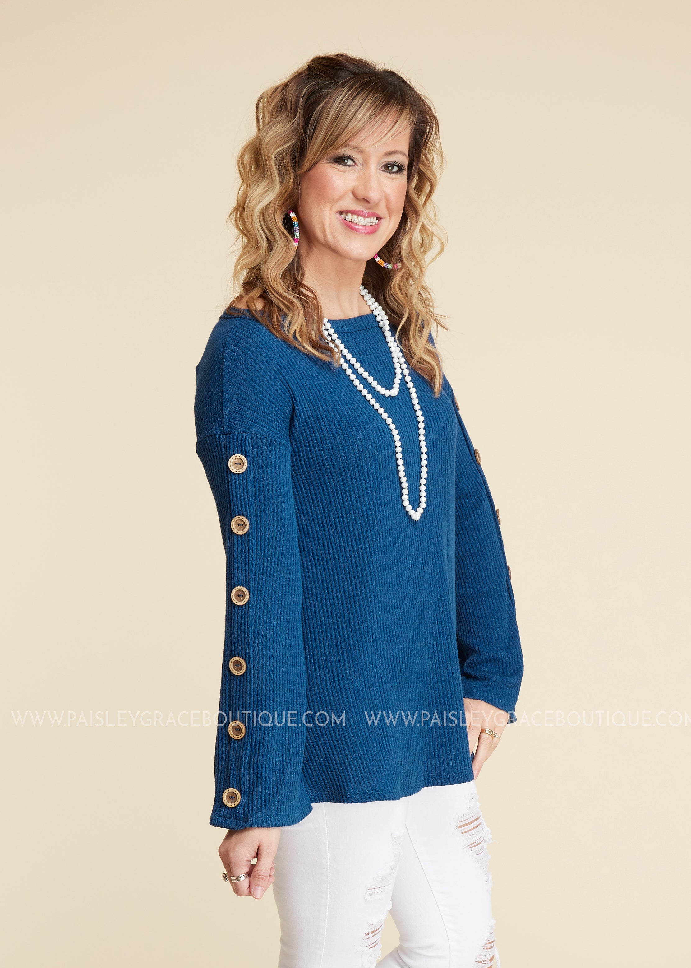 Buttons Up Top - BLUE -  FINAL SALE