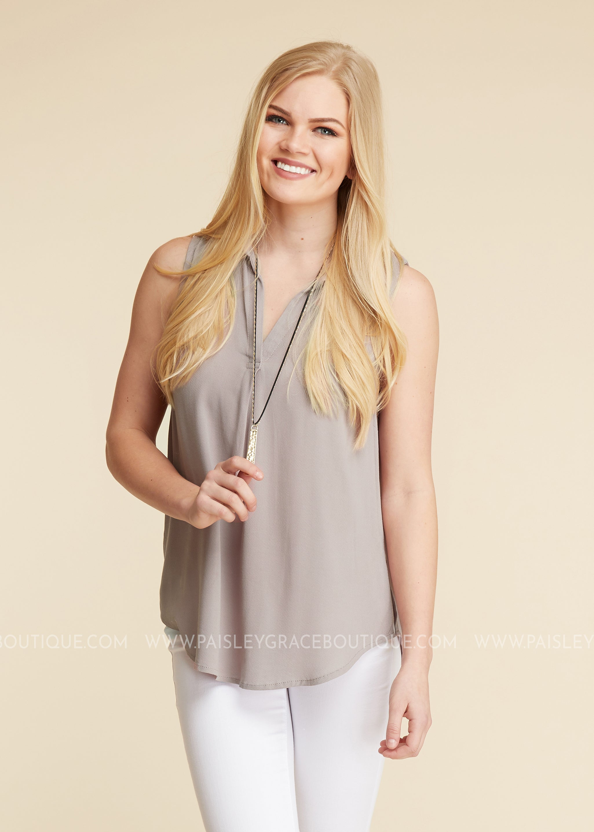 Wishful Thinking Top- TAUPE - FINAL SALE