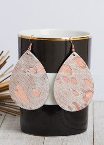 Metallic Rose Gold Hide Teardrop Earrings