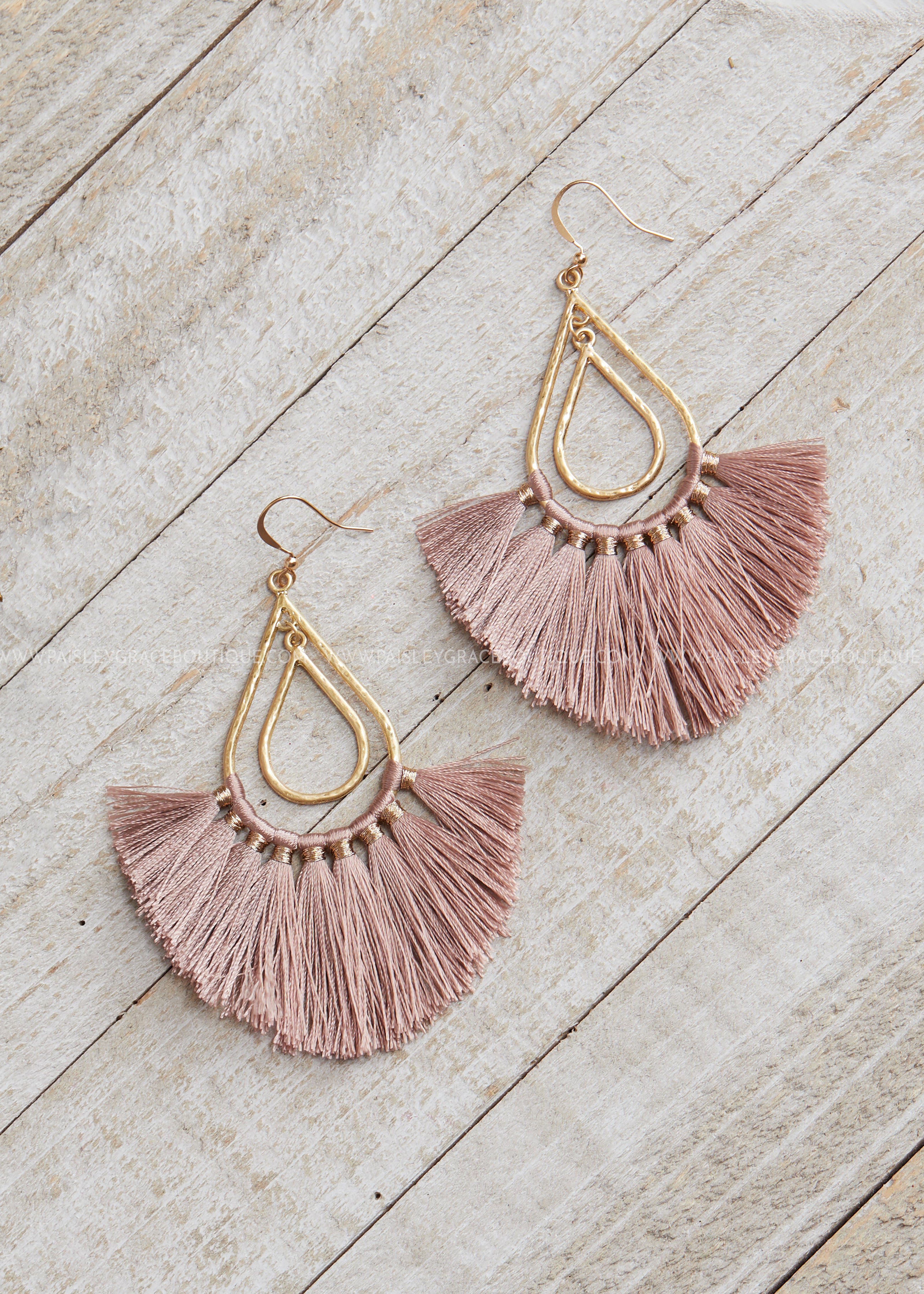 Hammered Gold Tassel Earrings-DUSTY ROSE
