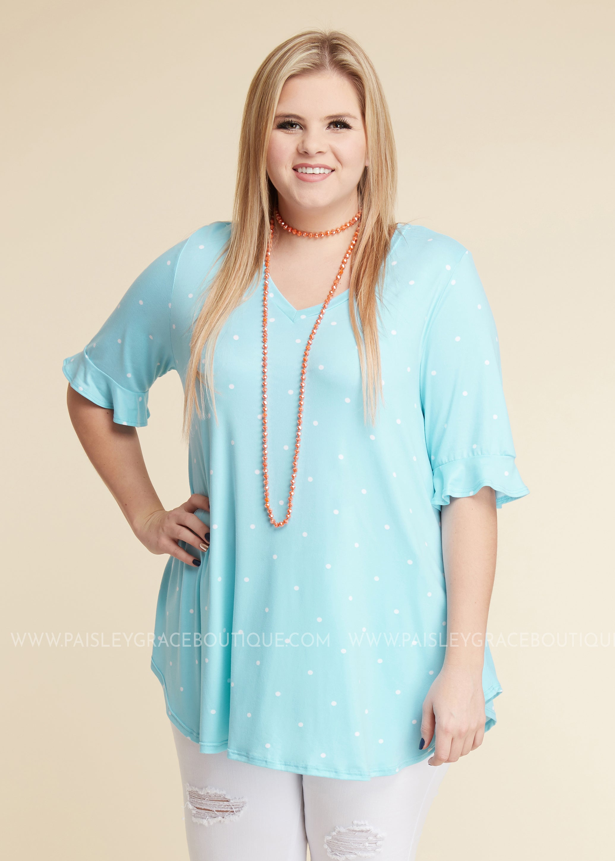Kennedy Polka Dot Top- SKY BLUE - FINAL SALE