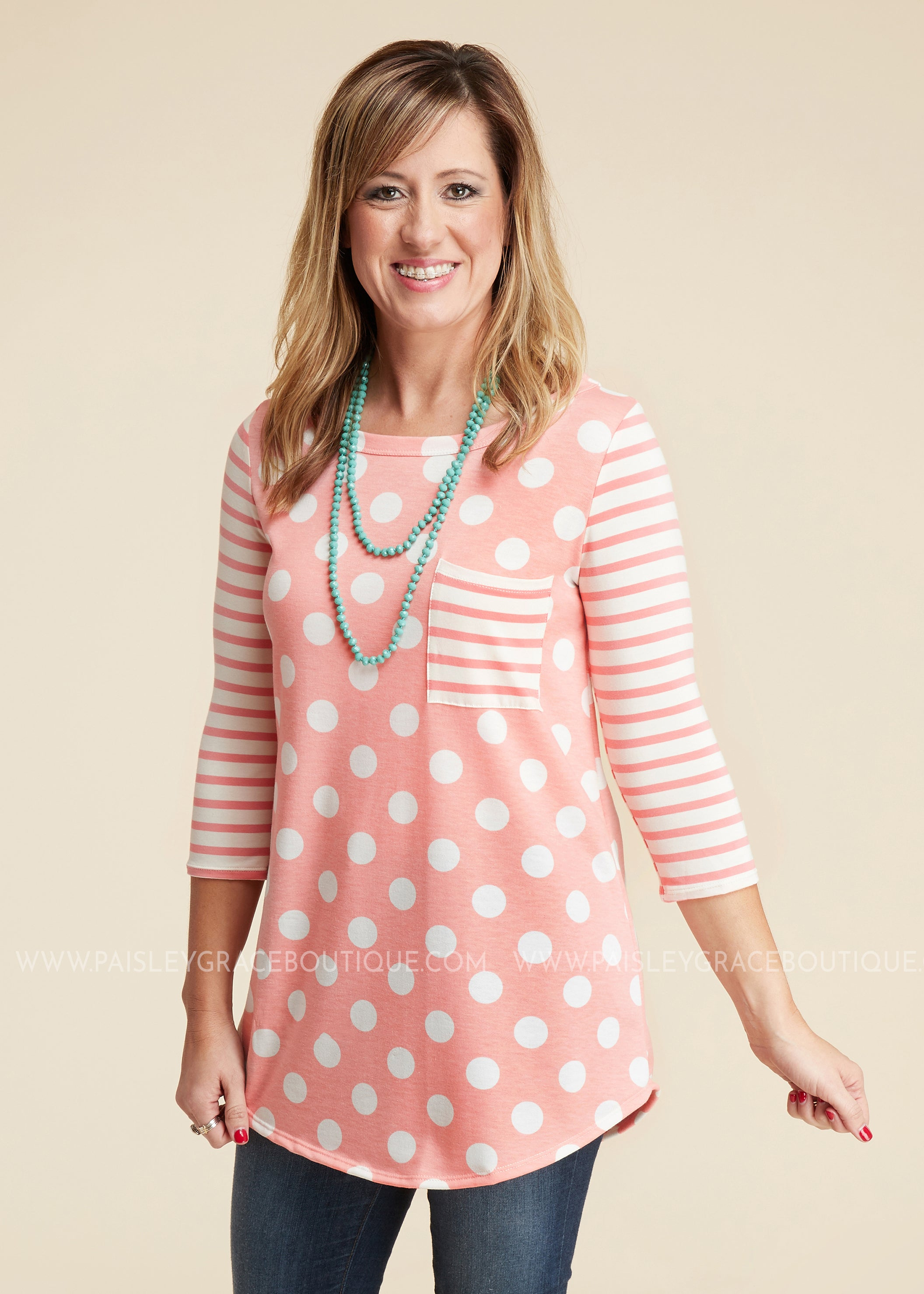 Hattie Polka Dot Top- PEACH