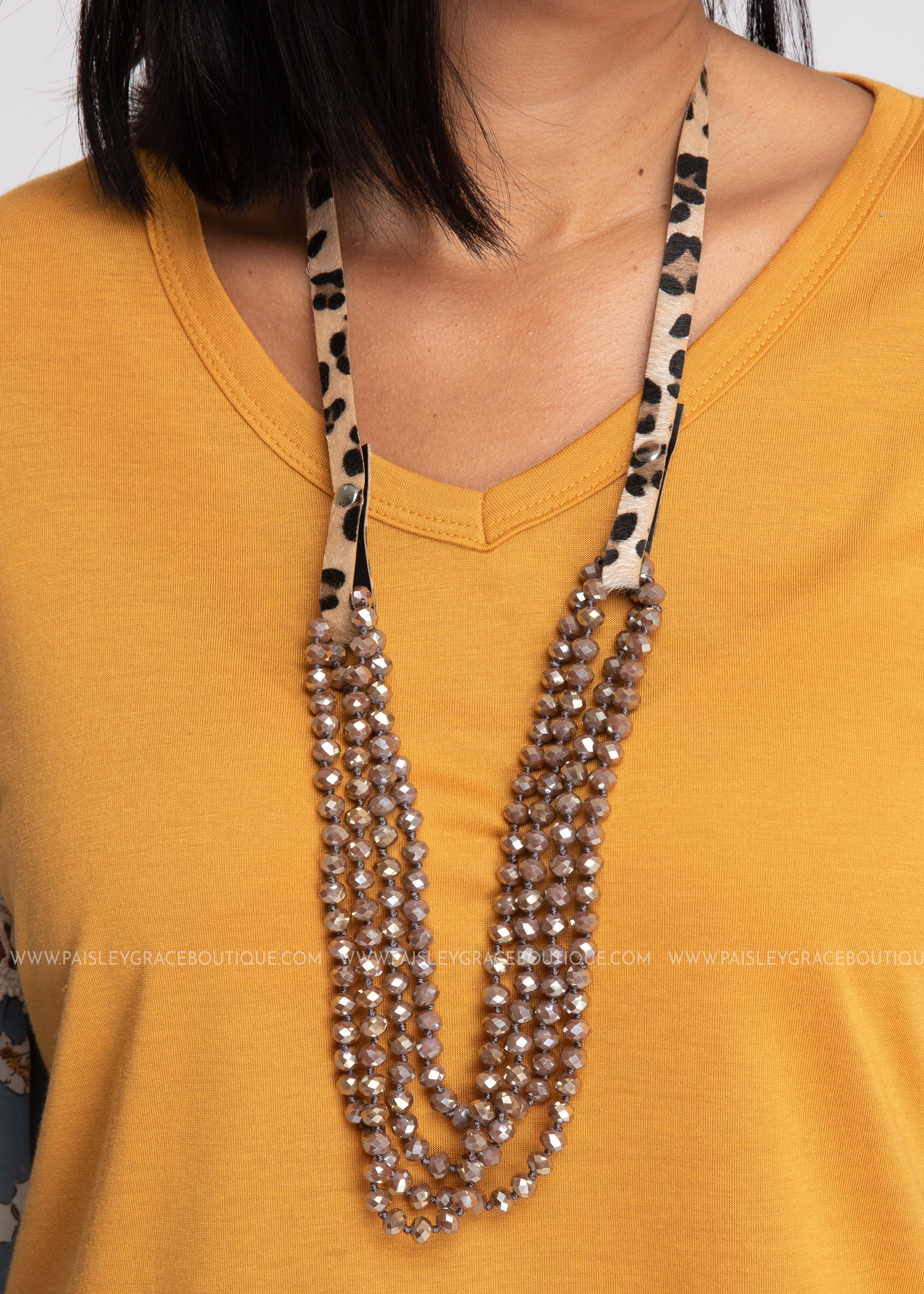 Essential Bead Necklace Extender-Leopard