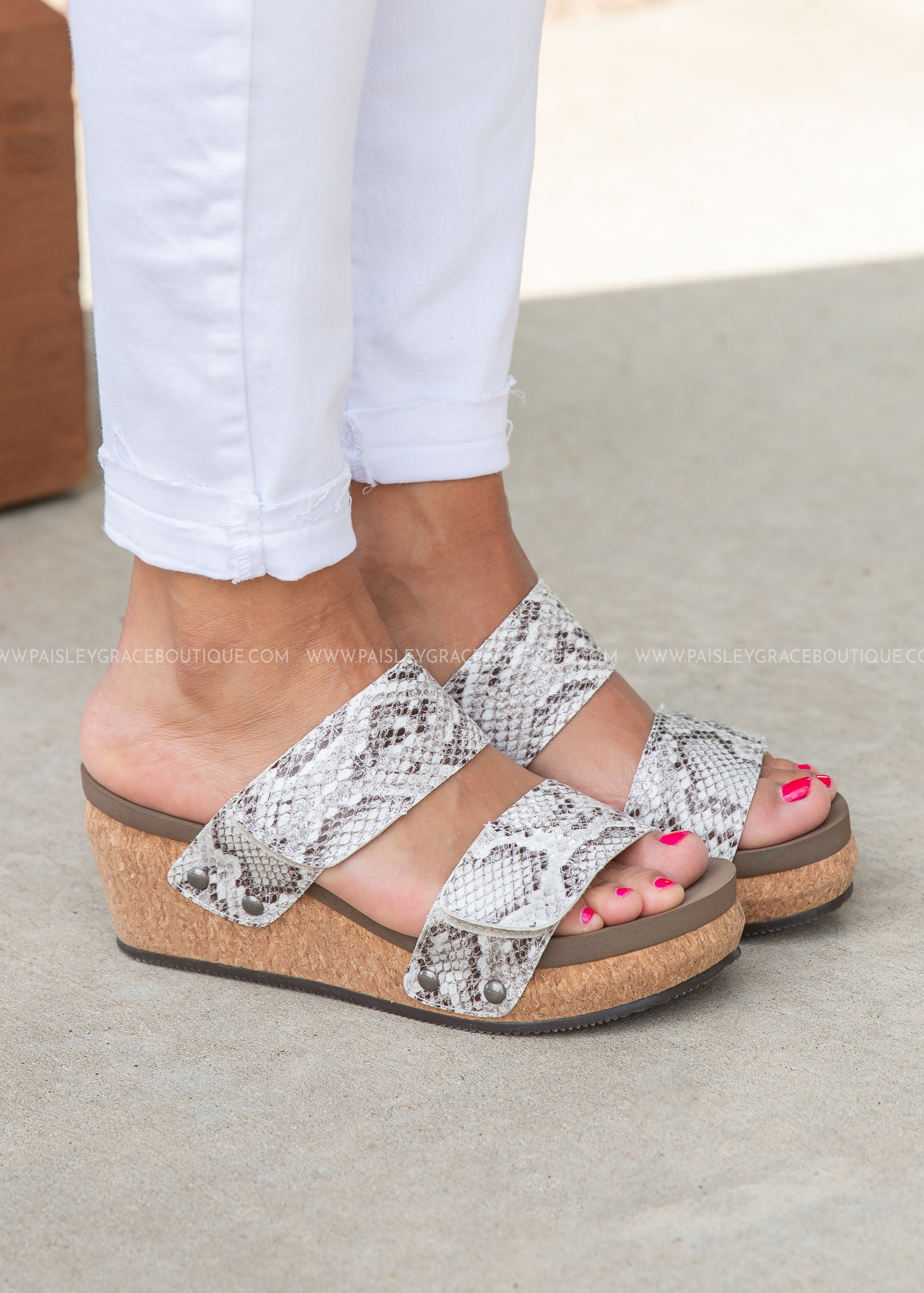 Shaw Wedge by Corkys-BLACK/WHITE SNAKE