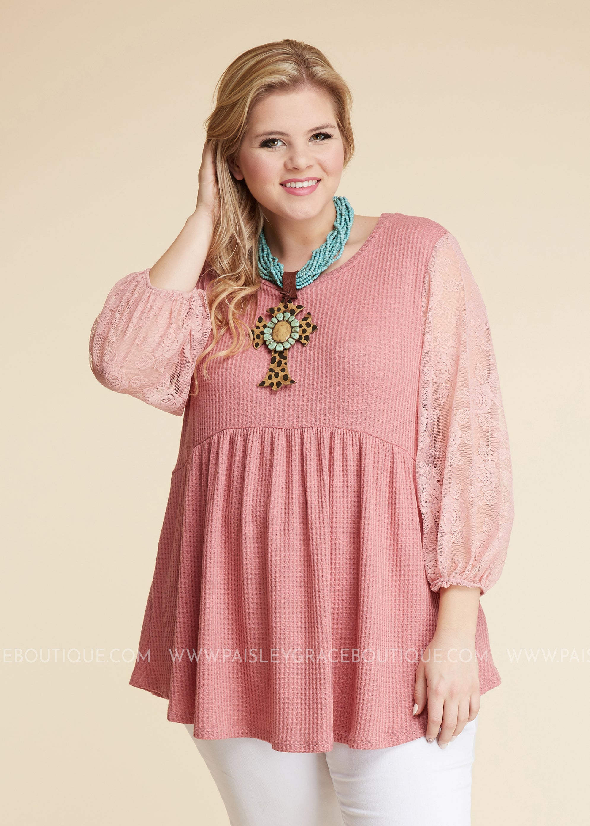Luna Lace Top - Dusty Rose - FINAL SALE
