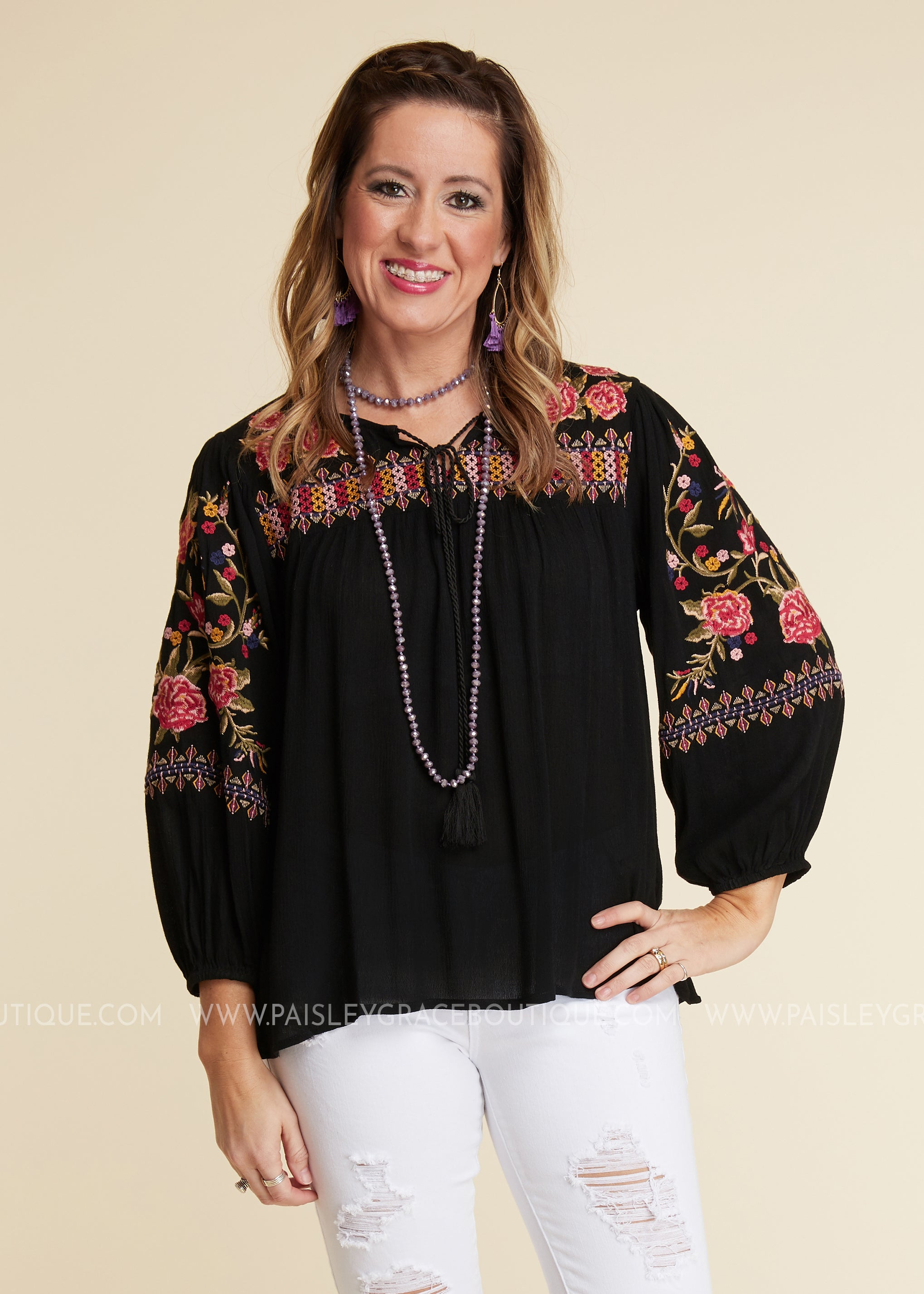 Ambrosia Embroidered Top
