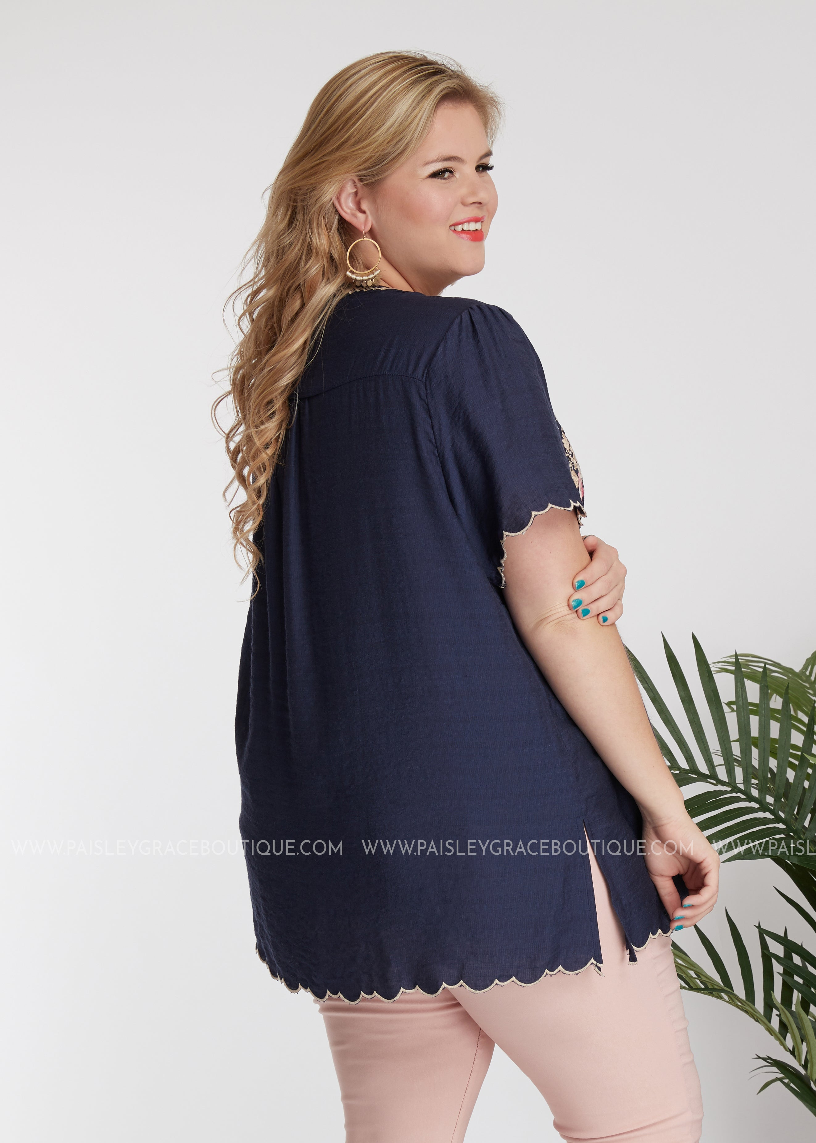 Chloe Embroidered Top- NAVY - FINAL SALE