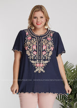 Load image into Gallery viewer, Chloe Embroidered Top- NAVY - FINAL SALE