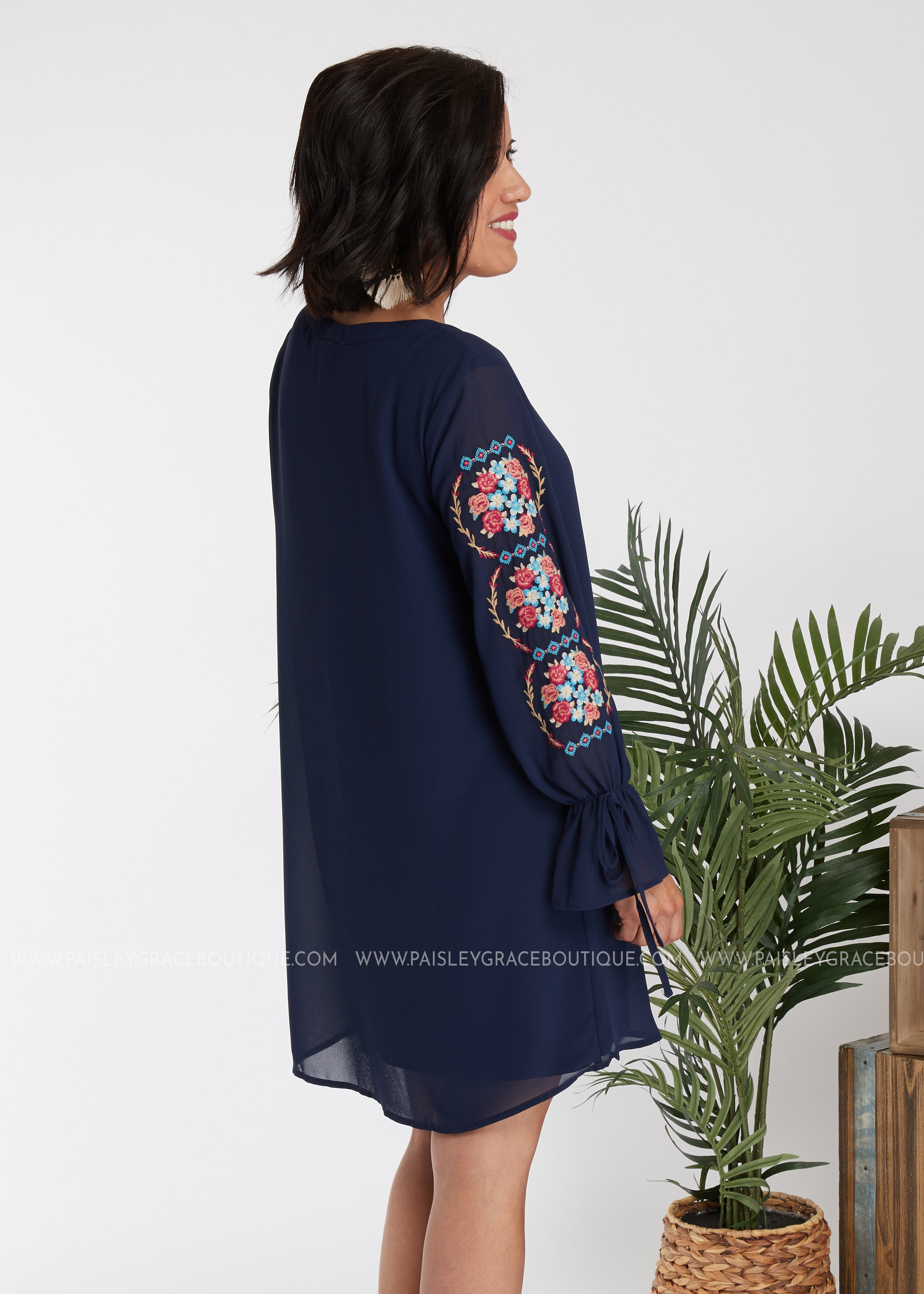 Marisol Embroidered Dress - NAVY