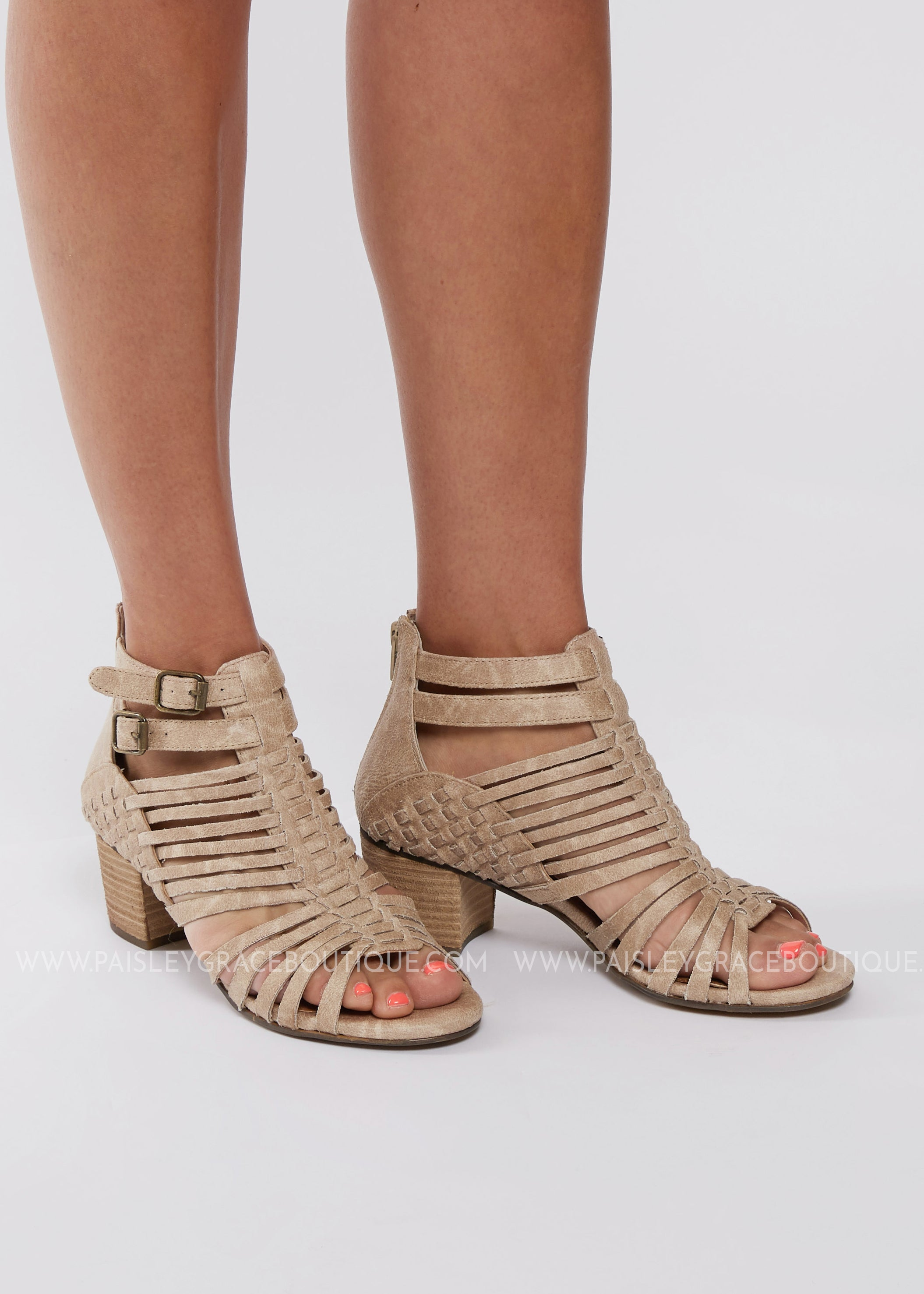 Bella Strappy Booties-CREME - FINAL SALE